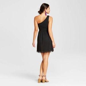 Xhilaration Dresses - Womens Black One Shoulder Fit Flare Dress  L